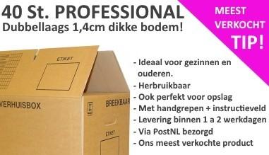 Verhuisdozen aanbieding: 40 stuks Verhuisdozen Professional, onze meest verkochte verhuisdoos